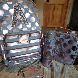 New Rose Gold Stripe/Dot Backpack Bundle